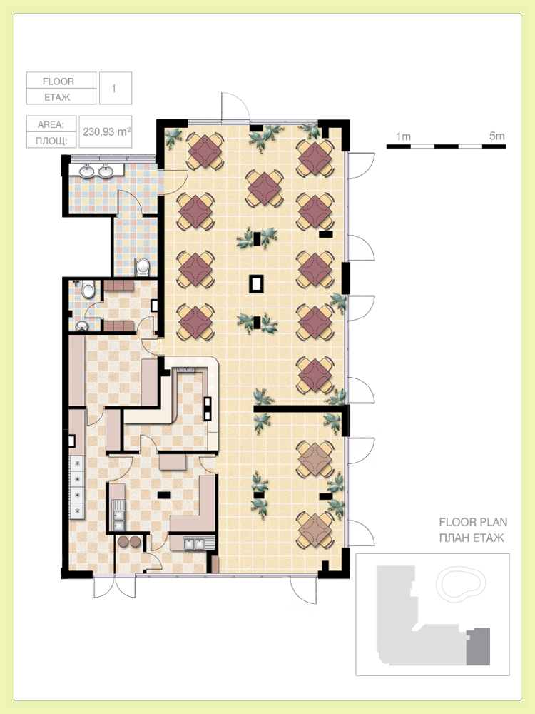 Restaurant, (Architectural Floor Plan) , total area 820.40 sq.m, Price ...
